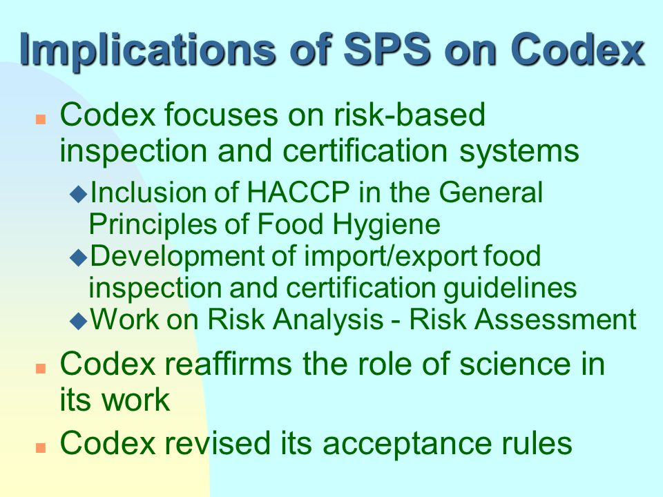 Implications of SPS on Codex