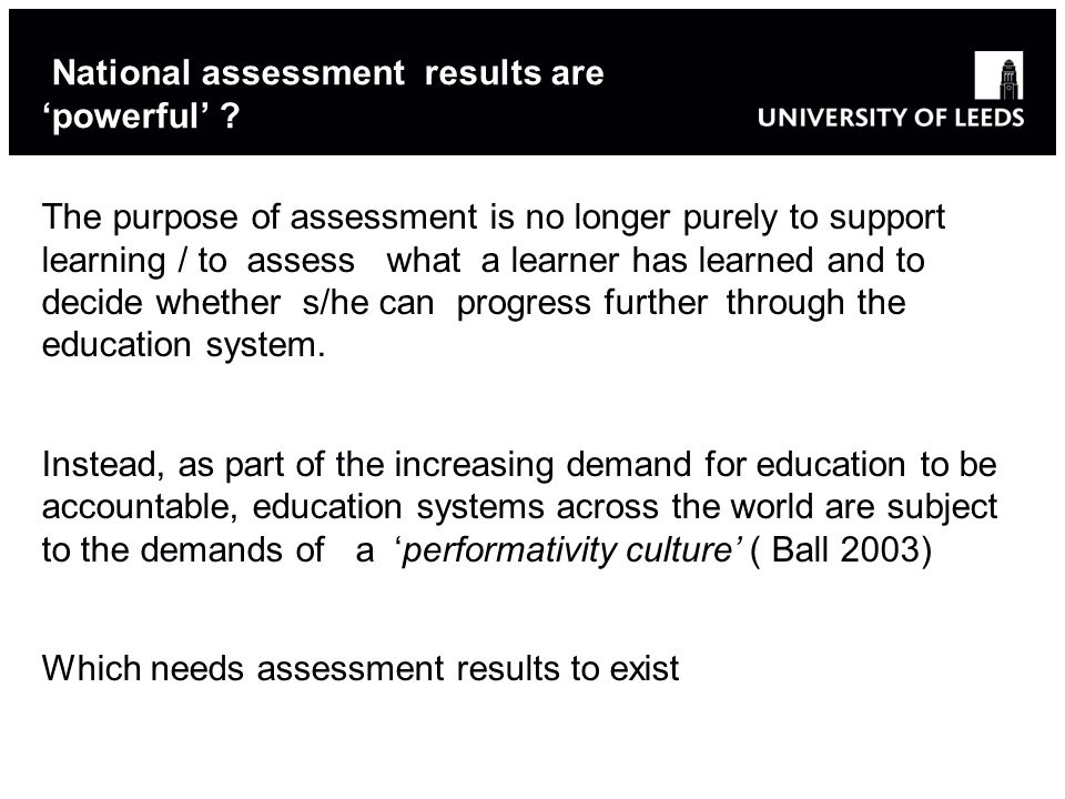 National assessment results are 'powerful'