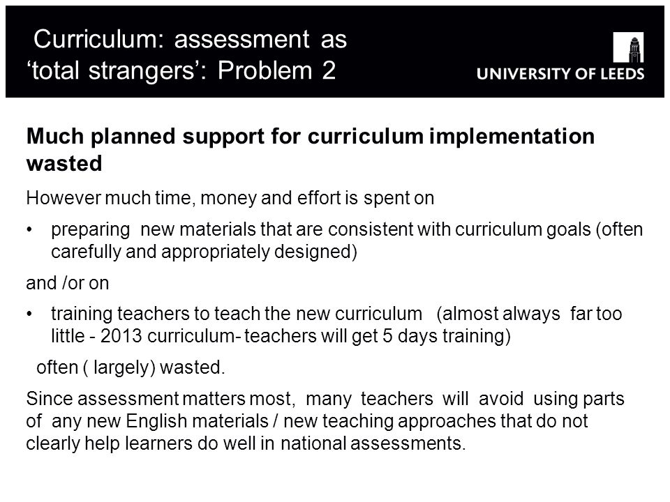Curriculum: assessment as 'total strangers': Problem 2