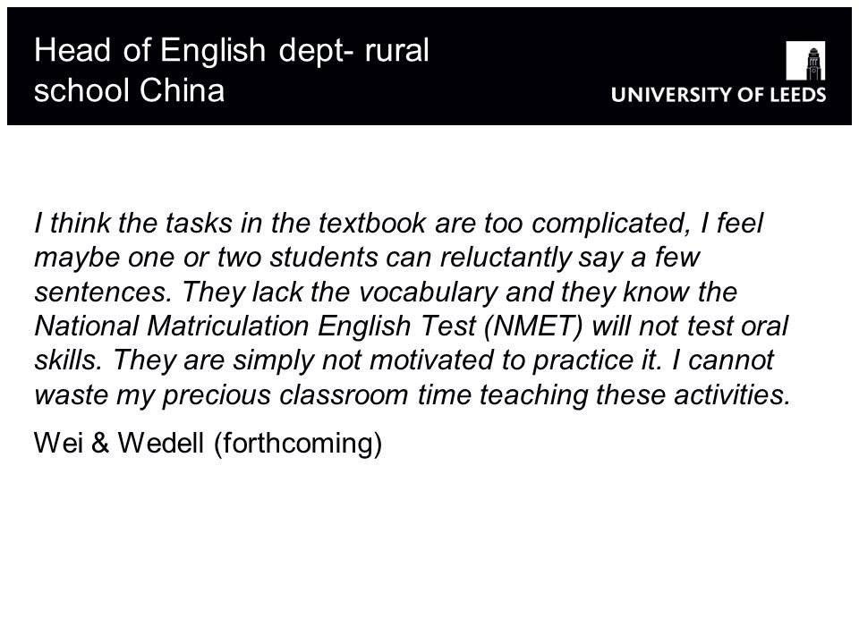Head of English dept- rural school China