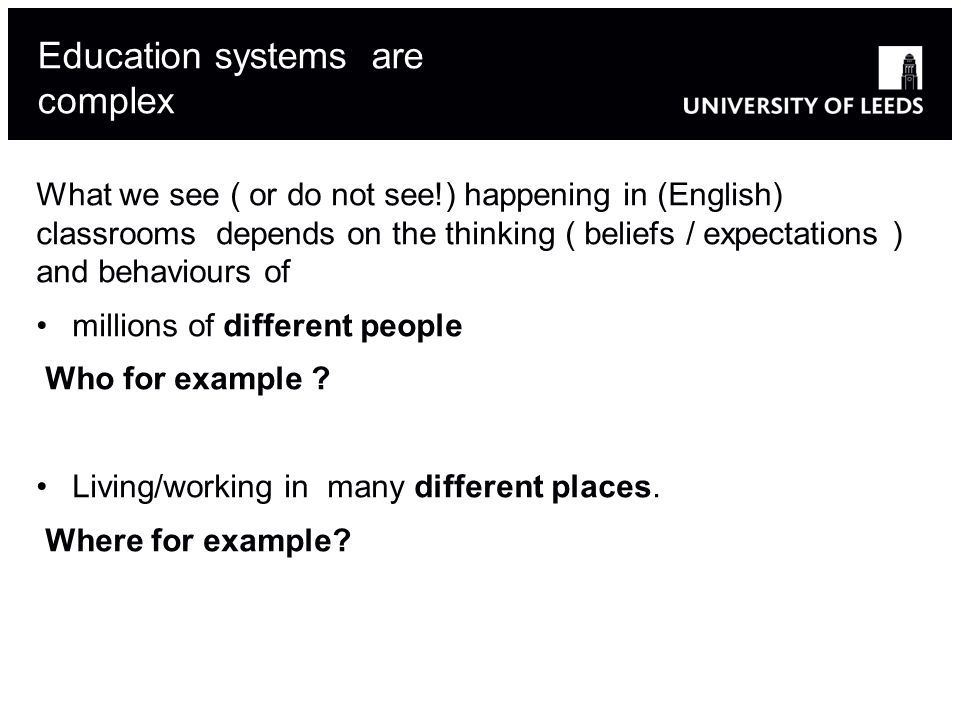 Education systems are complex
