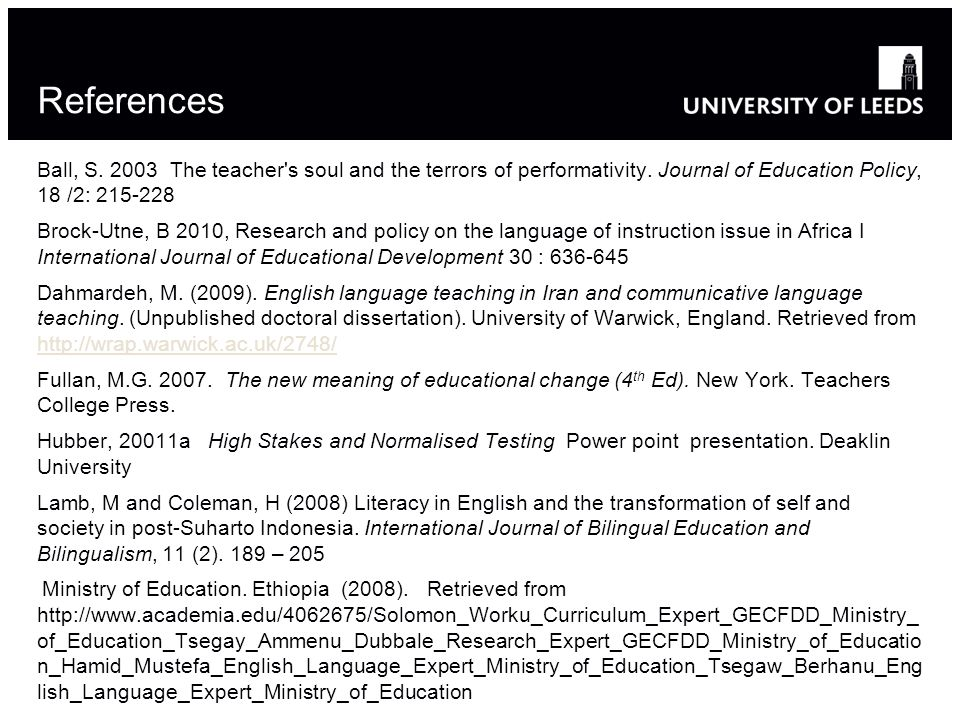 References Ball, S. 2003 The teacher s soul and the terrors of performativity. Journal of Education Policy, 18 /2: 215-228.