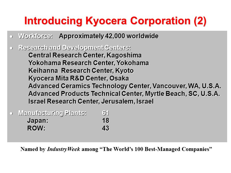 Introducing Kyocera Corporation (2)