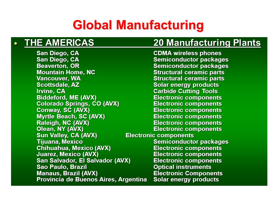 Global Manufacturing THE AMERICAS 20 Manufacturing Plants