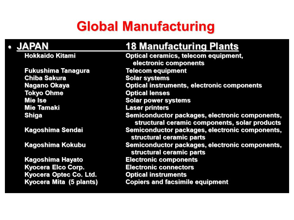 Global Manufacturing JAPAN 18 Manufacturing Plants