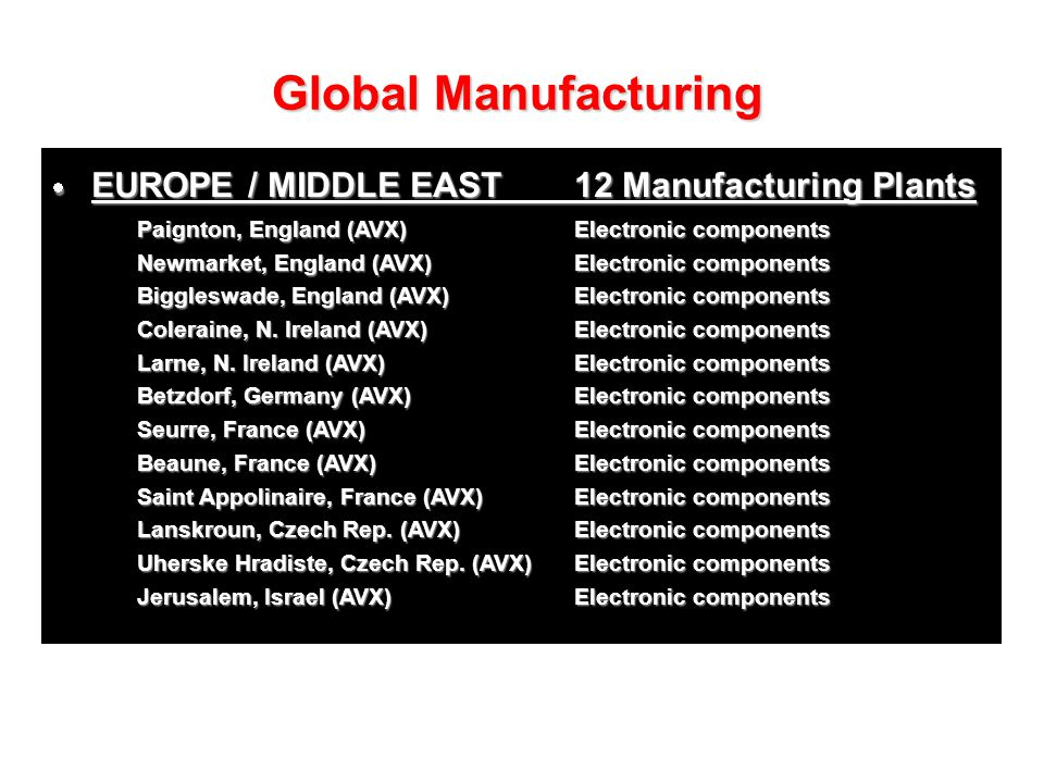 Global Manufacturing EUROPE / MIDDLE EAST 12 Manufacturing Plants
