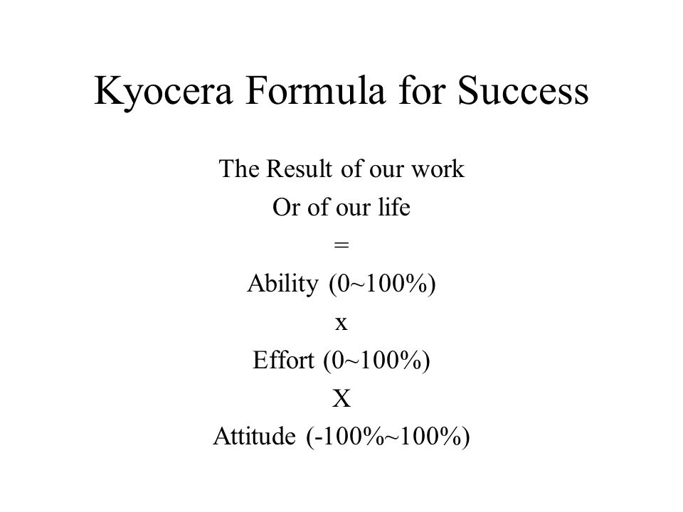 Kyocera Formula for Success