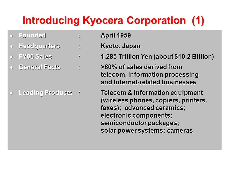 Introducing Kyocera Corporation (1)