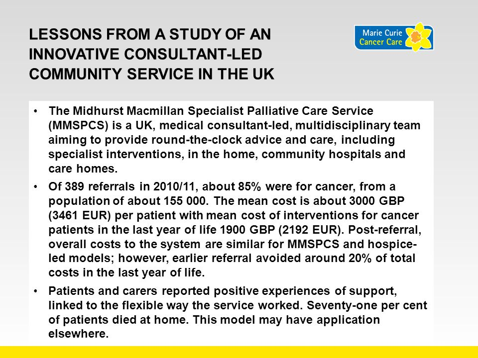 Lessons from a study of an innovative consultant-led community service in the UK