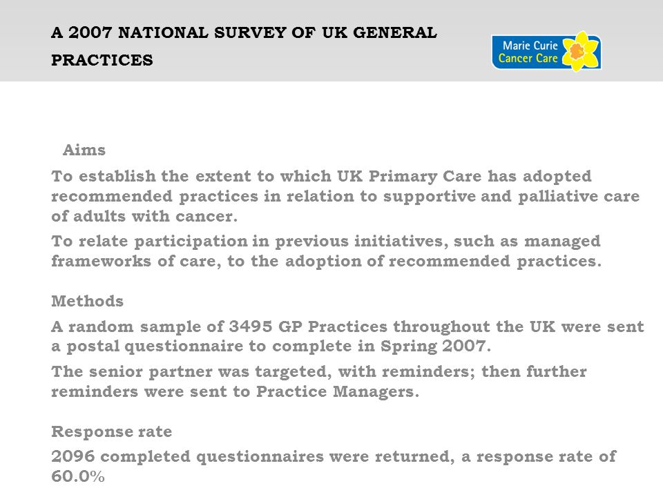 A 2007 National Survey of UK General Practices 2007 Care: A National Survey of UK General Practices Improving Supportive and Palliative Care For Adults with Cancer in Primary Care: A National Survey of UK General Practices