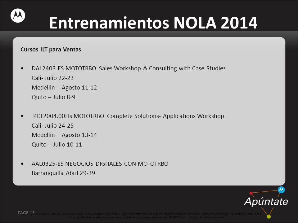 Entrenamientos NOLA 2014 Cursos ILT para Ventas