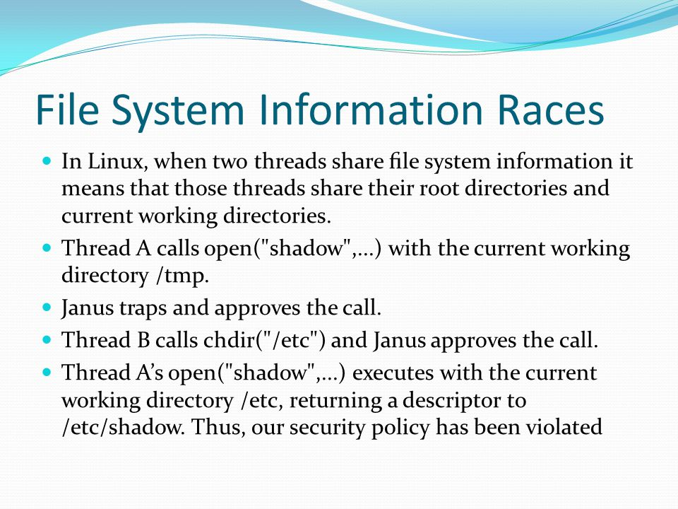 File System Information Races