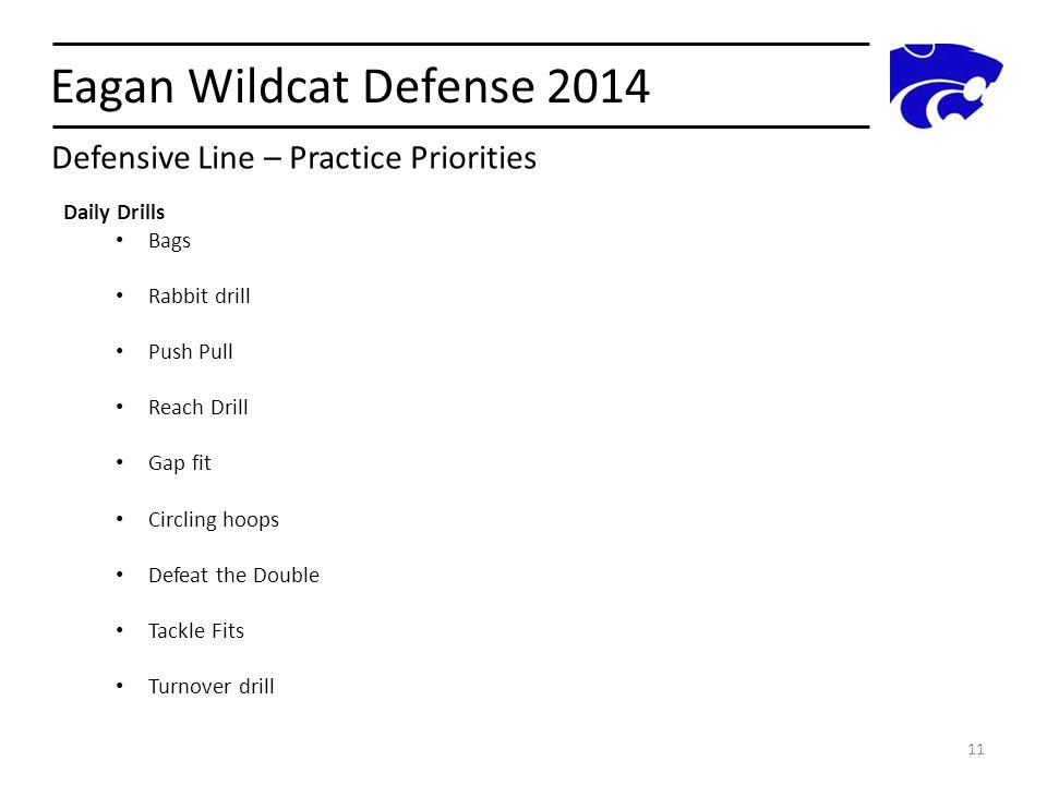 Eagan Wildcat Defense 2014 Defensive Line – Practice Priorities