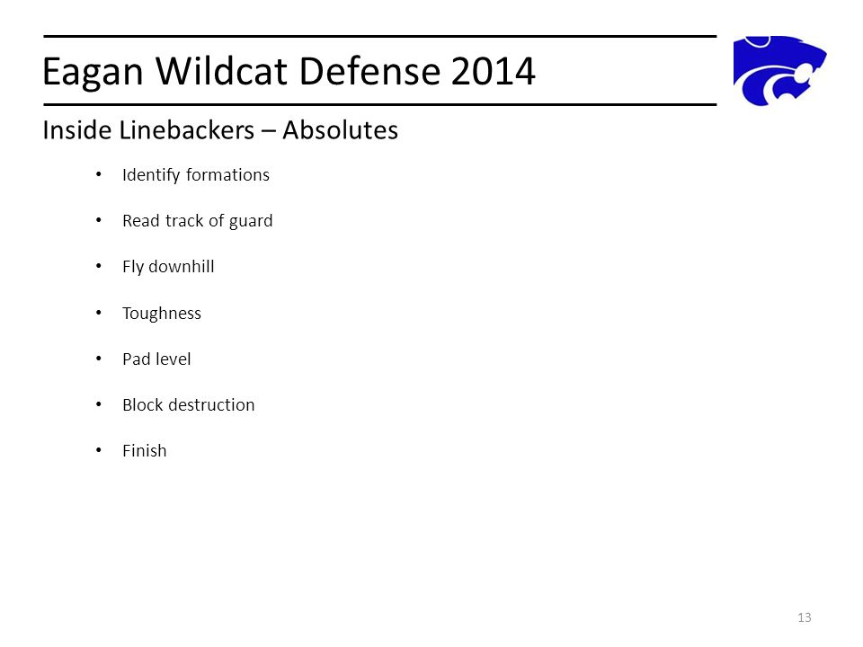 Eagan Wildcat Defense 2014 Inside Linebackers – Absolutes