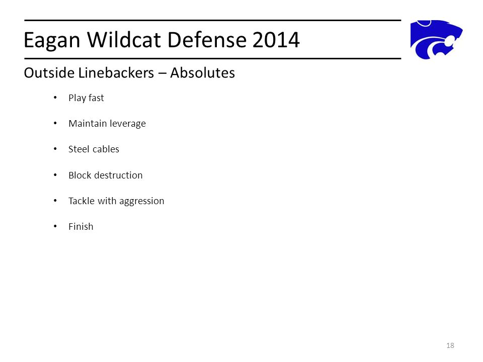 Eagan Wildcat Defense 2014 Outside Linebackers – Absolutes Play fast
