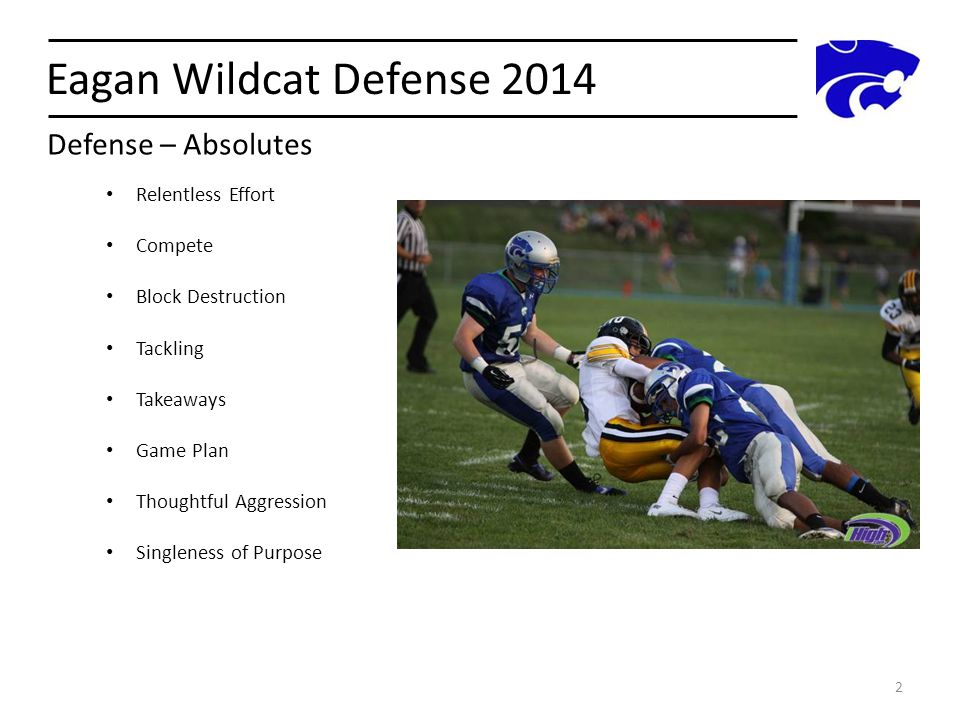 Eagan Wildcat Defense 2014 Defense – Absolutes Relentless Effort