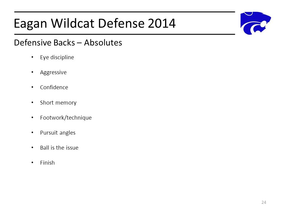 Eagan Wildcat Defense 2014 Defensive Backs – Absolutes Eye discipline