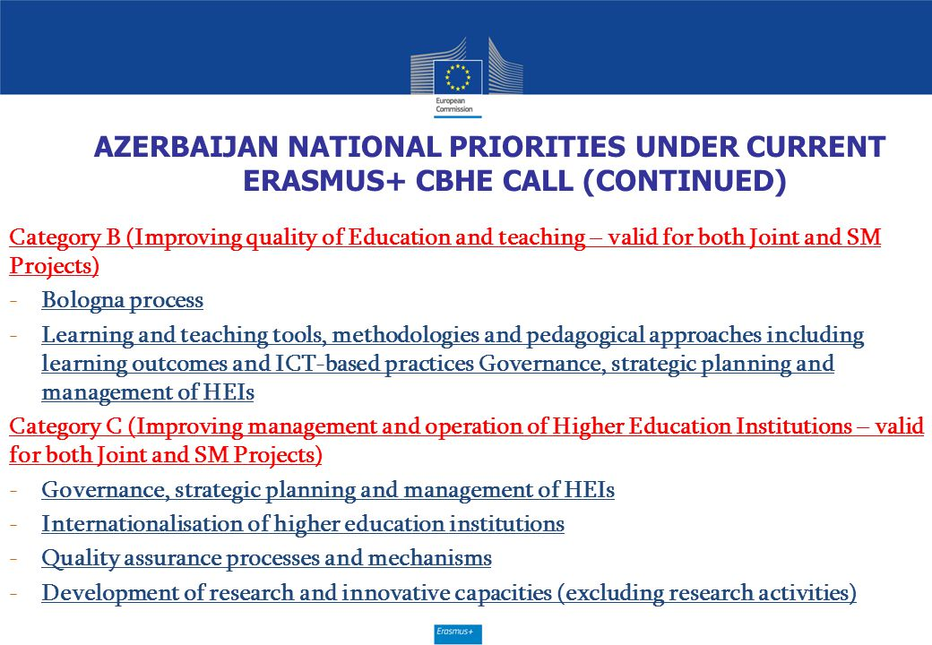 AZERBAIJAN NATIONAL PRIORITIES UNDER CURRENT ERASMUS+ CBHE CALL (CONTINUED)