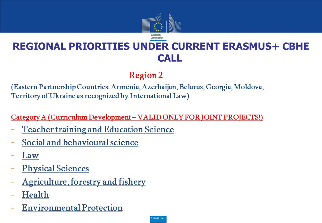 REGIONAL PRIORITIES UNDER CURRENT ERASMUS+ CBHE CALL