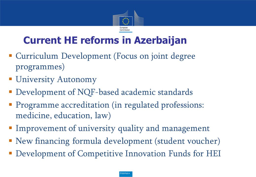 Current HE reforms in Azerbaijan