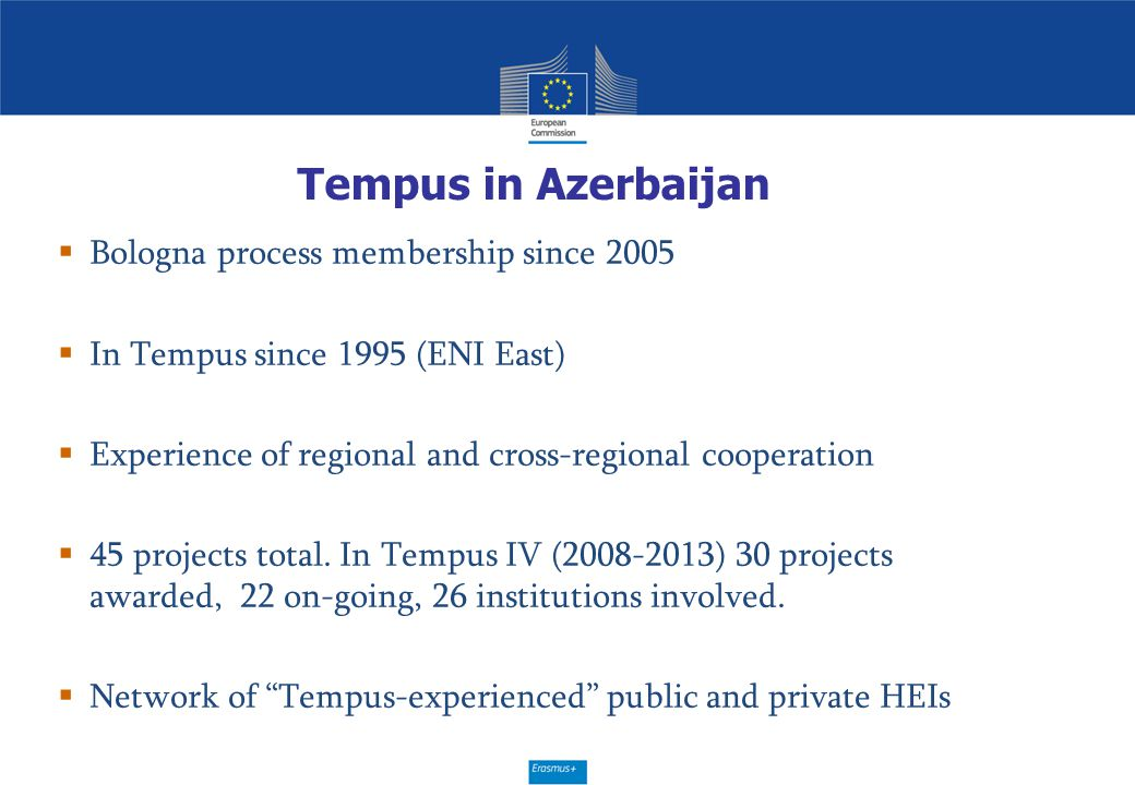 Tempus in Azerbaijan Bologna process membership since 2005