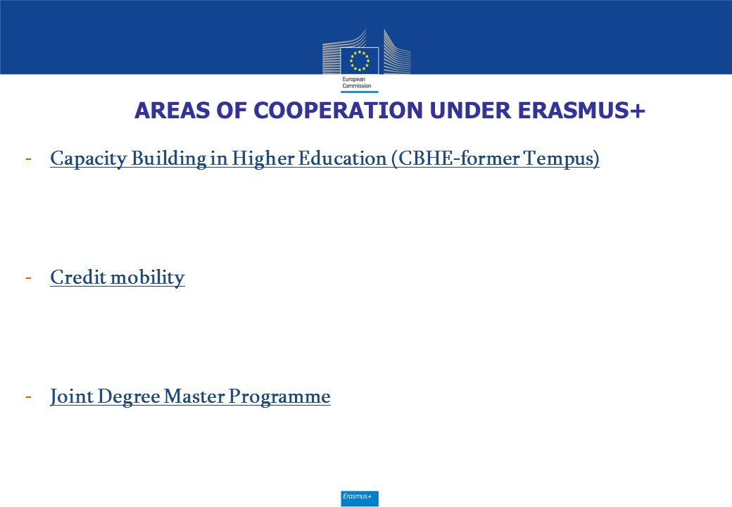 AREAS OF COOPERATION UNDER ERASMUS+