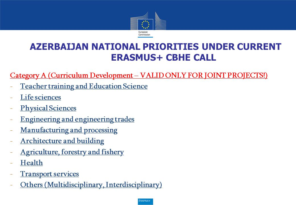 AZERBAIJAN NATIONAL PRIORITIES UNDER CURRENT ERASMUS+ CBHE CALL