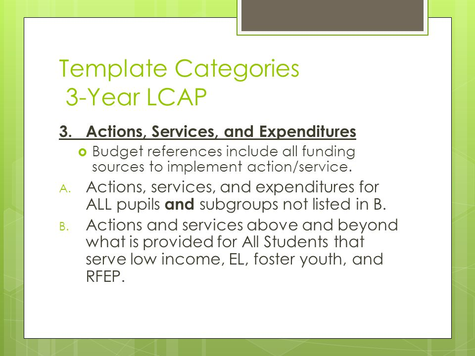 Template Categories 3-Year LCAP