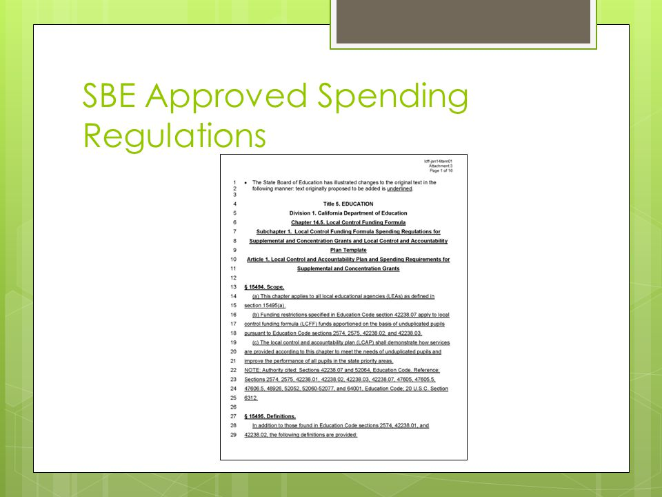 SBE Approved Spending Regulations