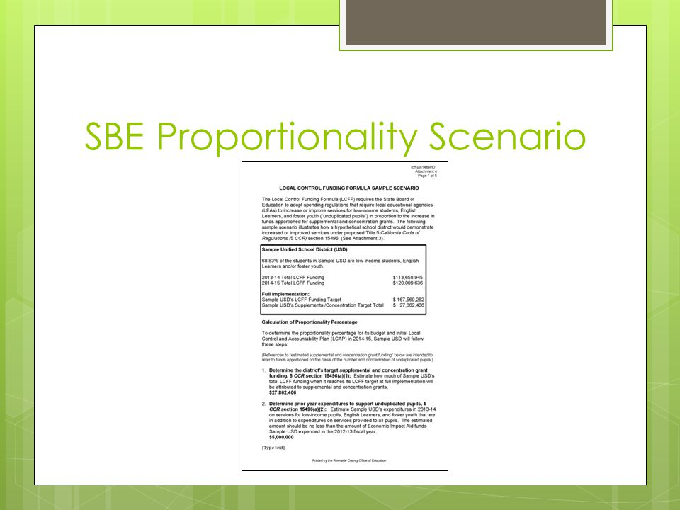 SBE Proportionality Scenario