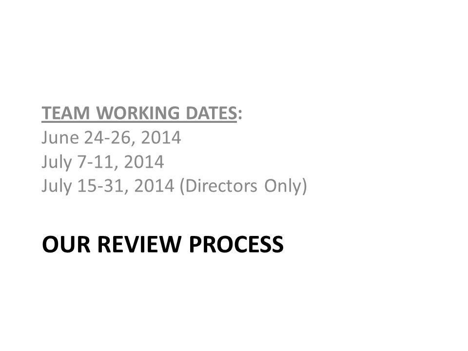 Our Review Process TEAM WORKING DATES: June 24-26, 2014