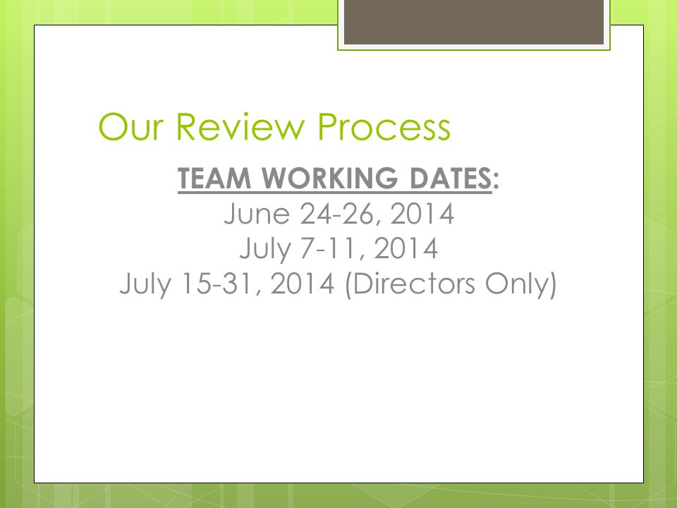 July 15-31, 2014 (Directors Only)