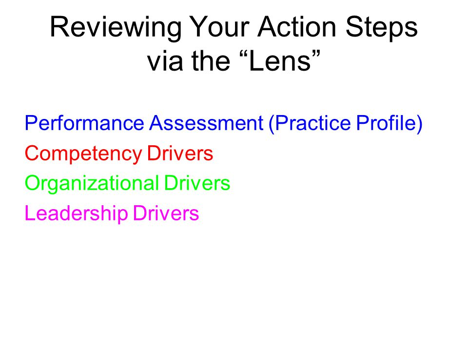 Reviewing Your Action Steps via the Lens