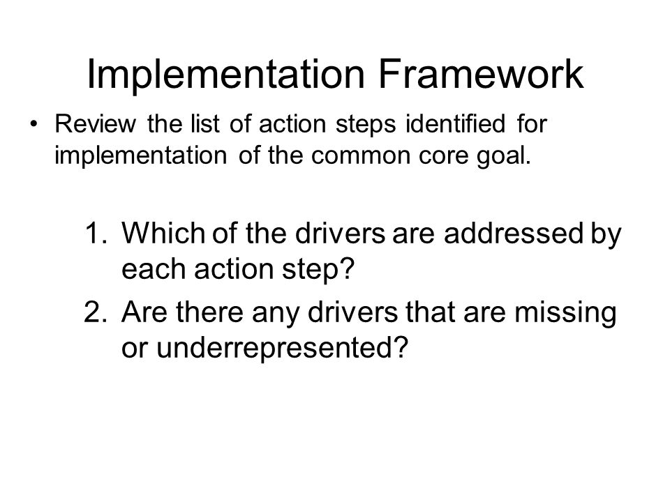Implementation Framework