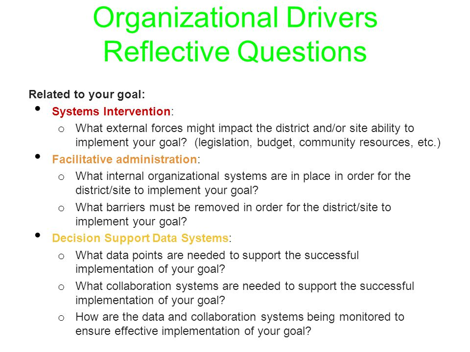 Organizational Drivers Reflective Questions