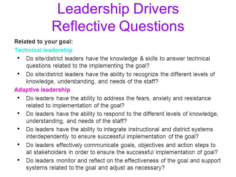 Leadership Drivers Reflective Questions