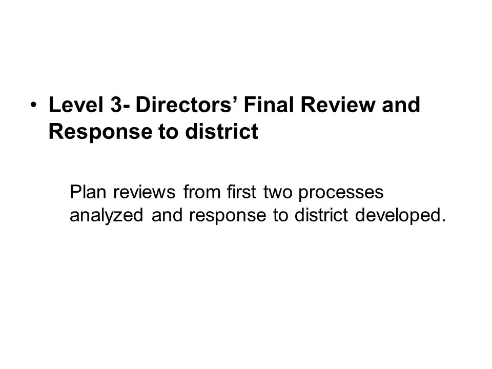 Level 3- Directors' Final Review and Response to district