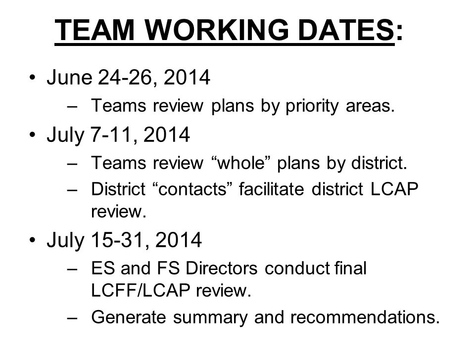 TEAM WORKING DATES: June 24-26, 2014 July 7-11, 2014 July 15-31, 2014