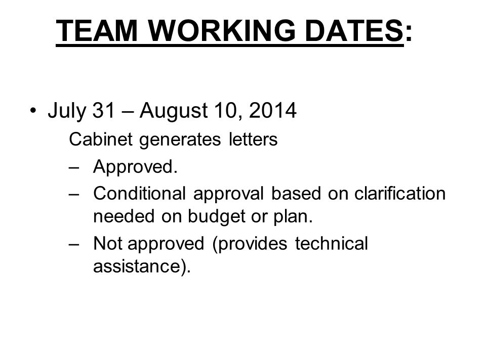 TEAM WORKING DATES: July 31 – August 10, 2014