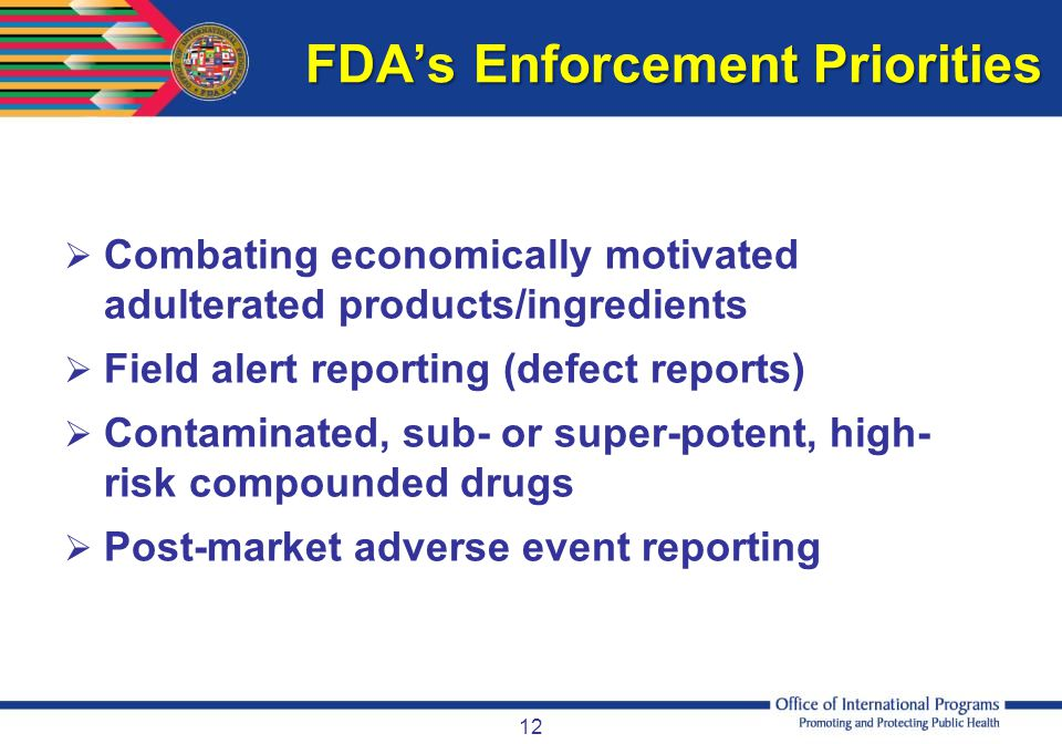 FDA's Enforcement Priorities