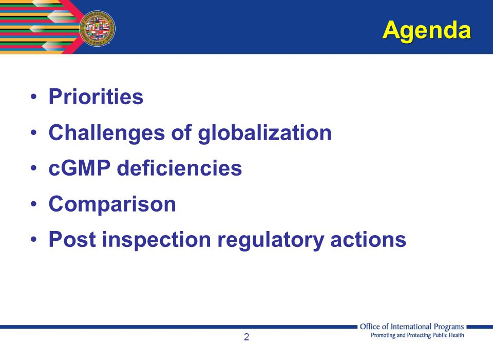 Agenda Priorities Challenges of globalization cGMP deficiencies