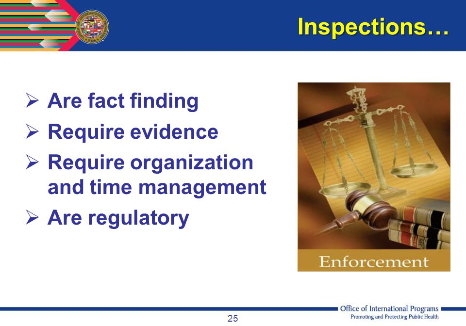 Inspections… Are fact finding Require evidence