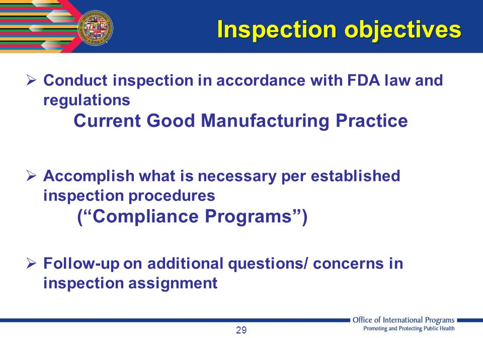 Inspection objectives