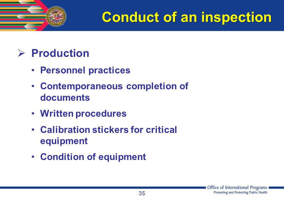 Conduct of an inspection