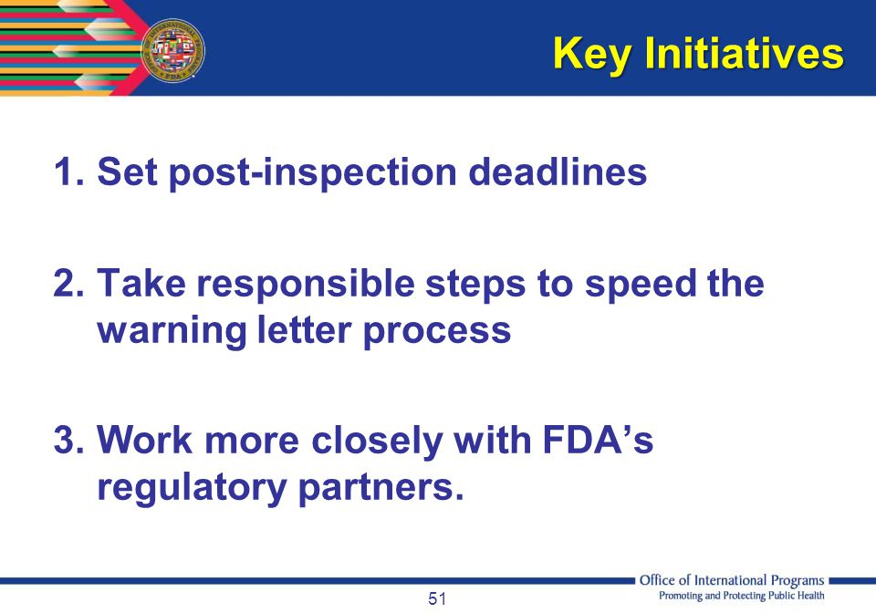 Key Initiatives Set post-inspection deadlines