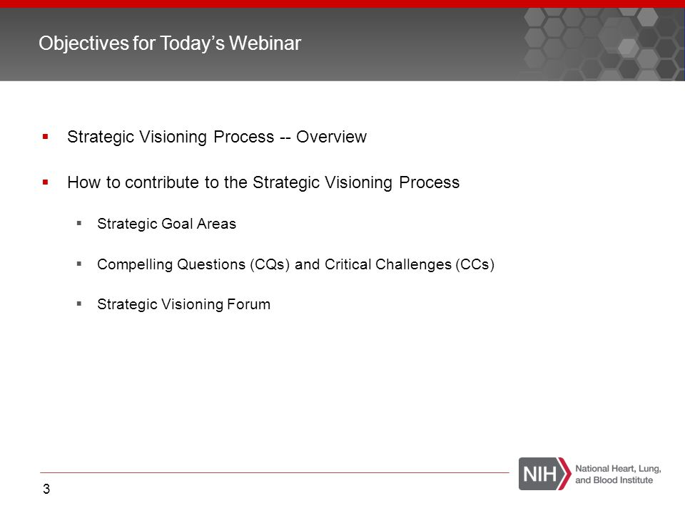 Objectives for Today's Webinar