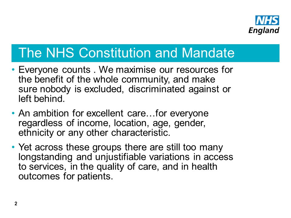 The NHS Constitution and Mandate
