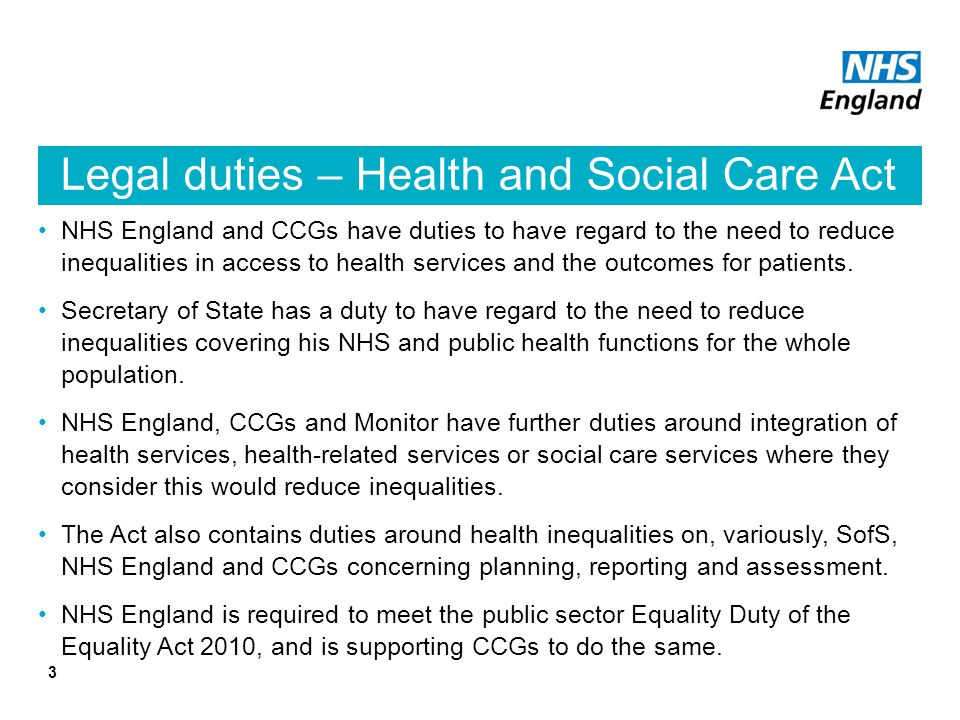 Legal duties – Health and Social Care Act
