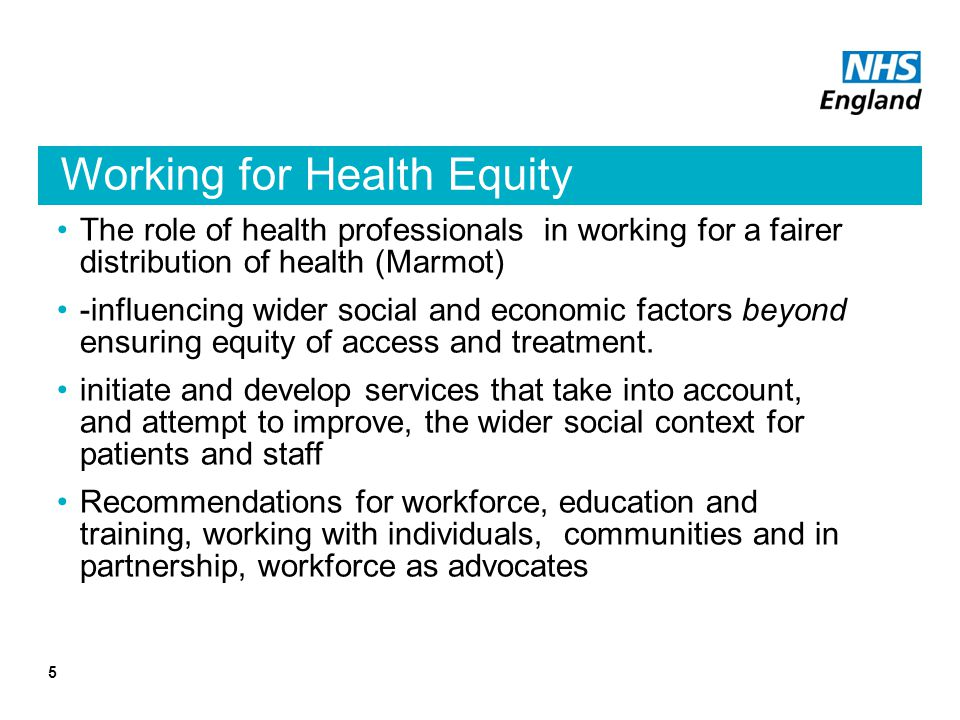 Working for Health Equity