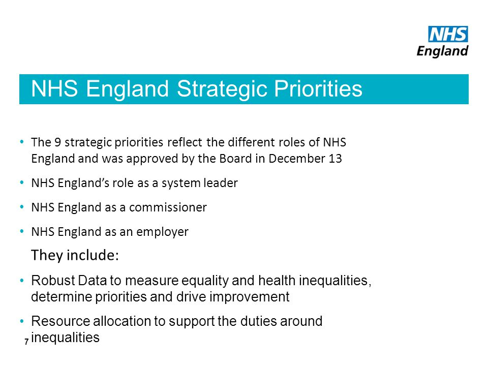 NHS England Strategic Priorities